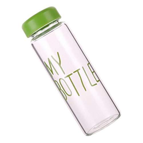 Weilifang 420ml transparent Wasser Cup Students Letters Pattern 420ml transparent Portable Tasse Sommer Flasche mit nach Hause im Freien beweglichen Cup