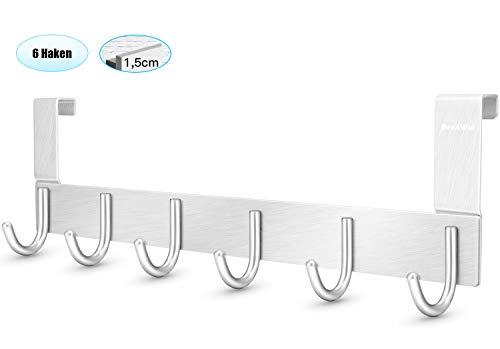 DeeAWai Türgarderobe Aluminium-Türhaken Kleiderhaken Tür und Garderobenhaken mit 6 Haken-Türhänger für 1-1,5 cm Dicke Tür zu hängen Mäntel, Hüte, Jacken, Roben, Made für Standard Deutsche Tür(Silber)