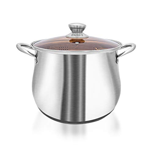 VENTION Stainless Steel Stockpot with Steam Basket, 9.8 Quart Food Grade Saucepot