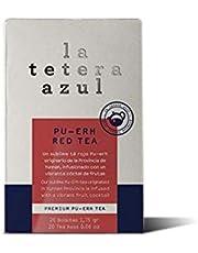LA TETERA AZUL Té Rojo Pu Erh Infusionado Con Frutas. Té Embellece. 20 Bolsitas De 1,75 Gramos.