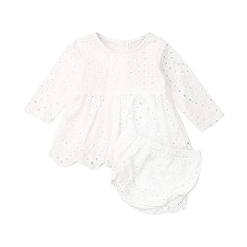 Geagodelia 2 Pezzi Completo Neonata Abito Bianco a Pois Vuoti a Maniche Lunghe+Pantaloncini Vestiti Bambine Tuta Bambina Elegante in Cotone