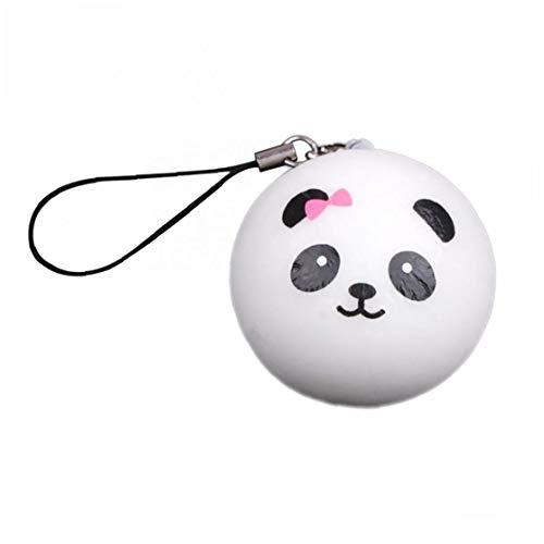 Kawaii Panda Expression Bun Slow Rising Key Rings Cute Face Squishy Bread Keychain Bag Phone Charm Strap Children Kitchen Toys