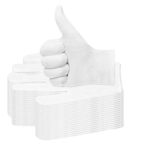 20 Pairs Cotton Gloves for Dry Hands, Paxcoo White Cotton Gloves for Eczema, Cosmetic Moisturizing and Coin Inspection, Medium Size