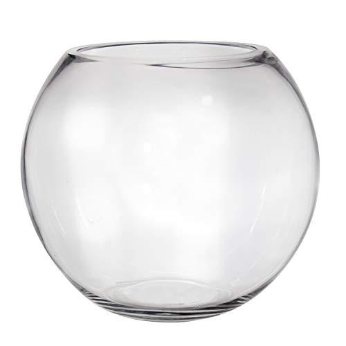 Vase en Verre en Forme de Boule fermée, Couleur Transparente. Dimensions : 25 x 25 x 21 cm. Matériau : Verre (référence : 3211100).