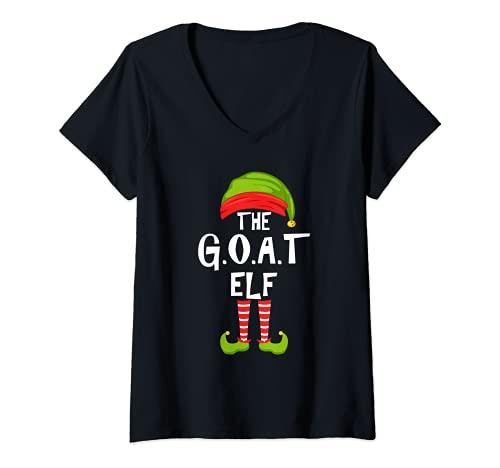 Mujer G.O.A.T. Grupo de pijamas para la fiesta familiar de Navidad Camiseta Cuello V