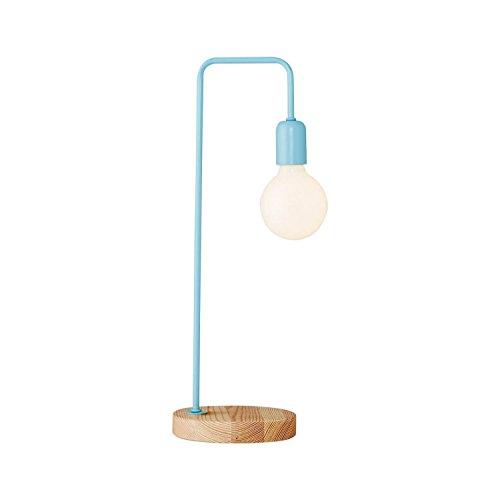 Homemania tafellamp Valetta kleur lichtblauw, walnoothout, metaal-per woonkamer, keuken, slaapkamer, kantoor, eenheidsmaat