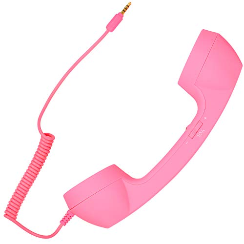 Retro Handset Old School Style Adjustable Tone Phone Telephone Receiver Microphone Earphone 3.5mm Socket for iOS Android Smartphones Mobile Cell Phones (Pink)
