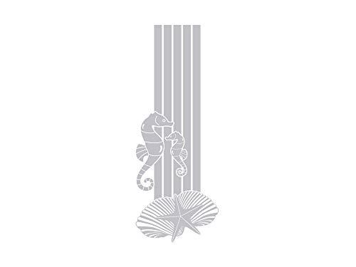 GRAZDesign Fenstertattoo Streifen mit Seepferdchen Muscheln, Fensterfolie für Badezimmer, Glastattoo für Dusche maritim / 105x40cm