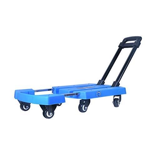 Carrito para El Hogar Carretilla De Jardín Cinta Plegable Carrito Remolque Portátil Carro De Equipaje Al Aire Libre, con Capacidad De 200 Kg (Color : Blue, Size : 57 * 31 * 94cm)