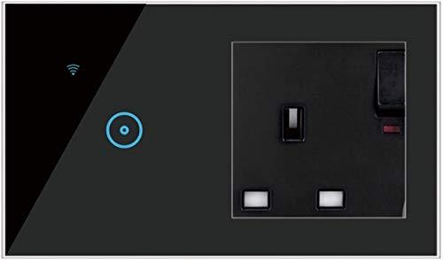 Zócalo con Interruptor de luz Inteligente, Neutral requerido 1/2/3 pandilla y 5 Agujeros Universal Socket UK 16A Compatible con Alexa y Google Home 1123 (Color : Black, Size : 3 pcs 1 Gang)