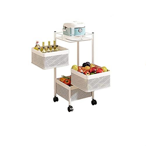 Rack di stoccaggio da cucina, rotazione a 360 ° multistrato quadrefloor cucina portaoggetti verdure con ruote, rack di stoccaggio cucina soggiorno (4F),Bianca