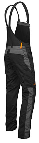 strongAnt - Männer Arbeits-Latzhose mit Kniepolstertaschen Berlin Kombi-Hose - Made in EU - Größe: 94, Farbe: Schwarz-Grau