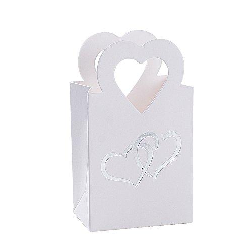 BUONDAC 100 pz Scatole Portaconfetti Bianco Bomboniere Carta con Manico Cuore Scatoline Regalo Decorazioni per Festa Matrimonio Battesimo Compleanno