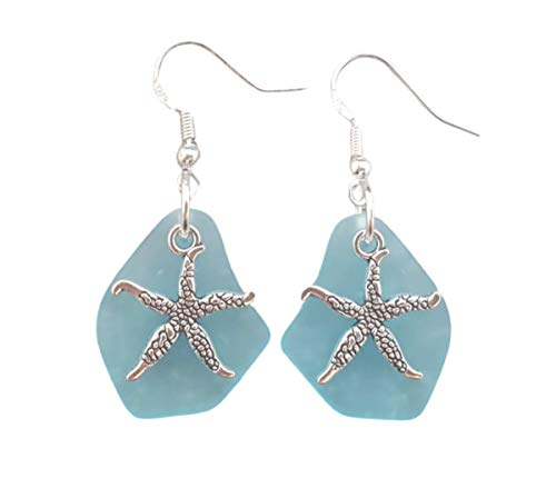 Handmade in Hawaii,'Twin Starfish' Turquoise Bay Blue sea glass earrings,'December Birthstone', (Hawaii Gift Wrapped, Mother's Day Gift)