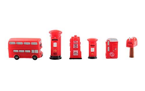 Miniature Figurines Mini Mailbox Vintage Bus Postbox Telephone Booth Figurines Vending Machine Figurines Tanker Figurine DIY Fairy Garden Home Table Decor Micro Landscape Dollhouse Decor,6Pcs