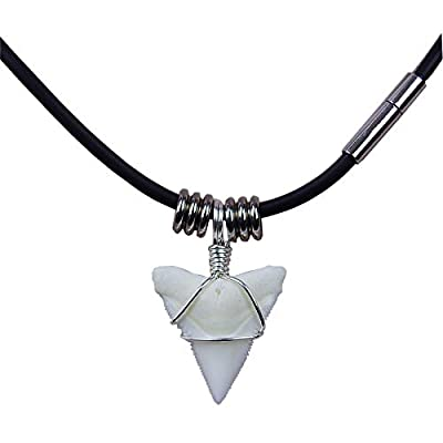 GemShark Real Shark Tooth Necklace for Boy 0.7 inch Bull Sterling Silver Eboy Pendant Christmas Necklaces