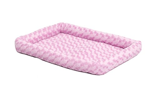 22L-Inch Pink Dog Bed or Cat Bed w/ Comfortable Bolster | Ideal for XS Dog Breeds & Fits a 22-Inch Dog Crate | Easy Maintenance Machine Wash & Dry | 1-Year Warranty
