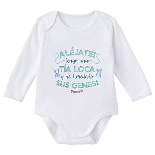 SUPERMOLON Body bebé manga larga Tía loca Blanco algodón para bebé 0-3 meses