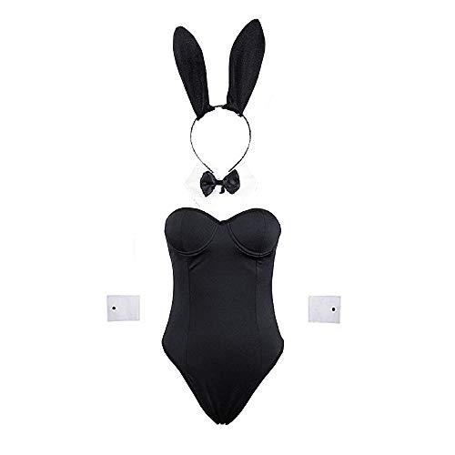BellaPunk Conjunto completo de disfraz de conejo sexy para mujer, color negro Negro M