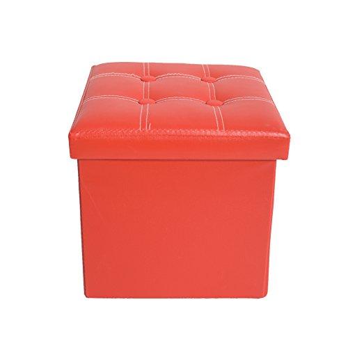Rebecca Mobili Pouf contenitore, poggiapiedi seduta rosso, cubo, legno mdf similpelle, arredamento moderno - Misure 30 x 30 x 30 cm (HxLxP) - Art. RE4900