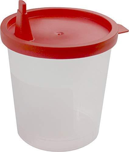 Medi-Inn Urinbecher 125 ml mit rotem Schnappdeckel Urinprobenbecher Kunststoffbecher (100 Stück)