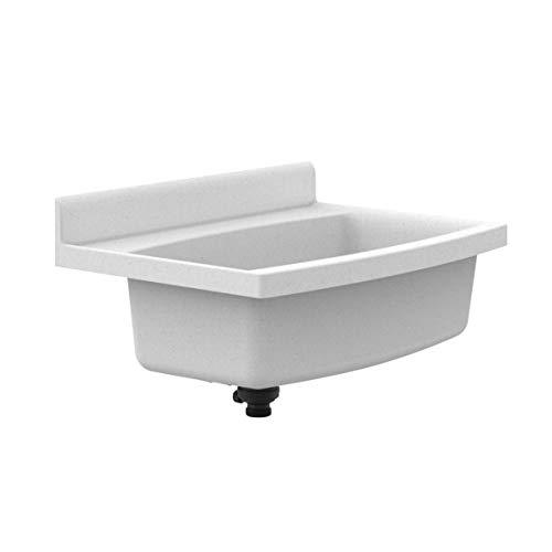 Sanit Maxi Waschbecken (schlagfester Kunststoff, Granit, Fassungsvermögen 33 l, Überlauf, Zubehör) 60.013.B6.0099