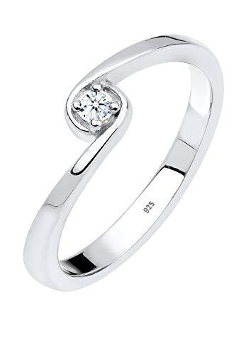 DIAMORE Ring Damen Solitär Verlobung mit Diamant (0.03 ct.) in 925 Sterling Silber