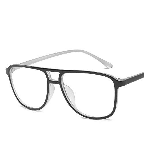 YHKF Brillen Klassischer Retro Frauen Brillenrahmen Transparente Brille Rahmen Herren Brille Rahmen-Schwarz_Weiß