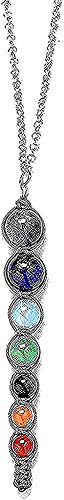 NC96 Collar Multicolor 7 Libra Collar de Perlas Mujeres Collares y Colgantes joyería de Yoga Espiritual Colgante Collar Regalo