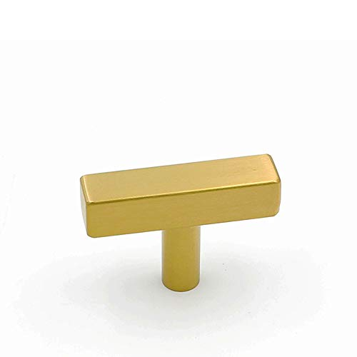 5Pack Gold Cabinet Pulls Kitchen Hardware Drawer Knobs - Goldenwarm LS1212GD Brushed Brass Square T Bar Cabinet Knobs Single Hole Cupboard Door Handles Bathroom Furniture Pulls