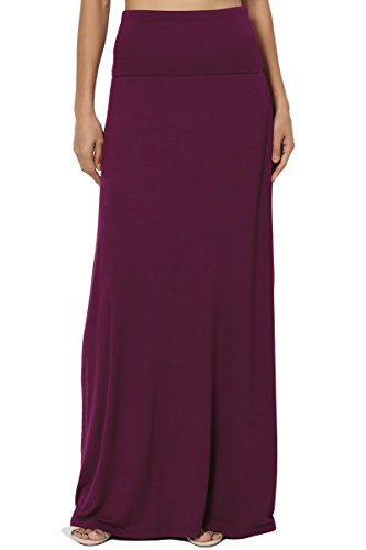 TheMogan Women's Casual Solid Draped Jersey Relaxed Long Maxi Skirt Dark Plum L