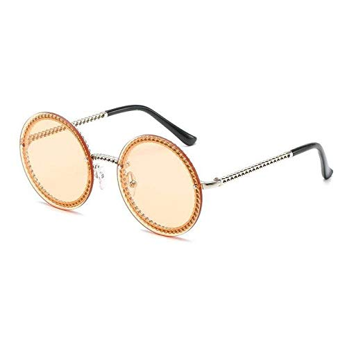 ZJMIYJ zonnebril, eenkleurig, metalen ketting, rond, zonnebril, dames, heren, vintage, oculos, zonder ketting geel