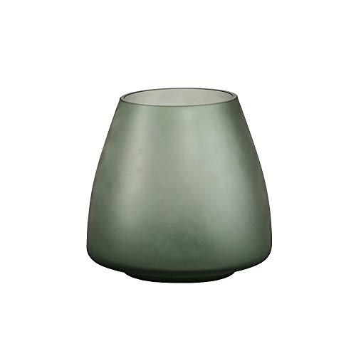 PUCHIKA Vase Mattglas Blumenvase, Modern Vase für Zuhause und Hochzeit, Grüne Tischvase für Pflanzen, Tischdeko, Höhe 18cm, Ø18cm.