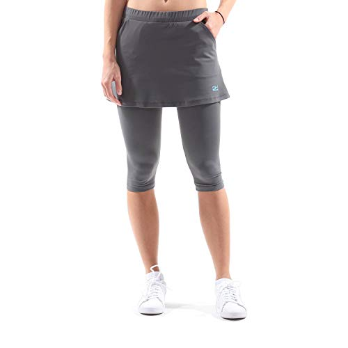 Sportkind Mädchen & Damen Tennis, Running, Yoga 2-in-1 Rock mit Leggings & Taschen, grau, Gr. M