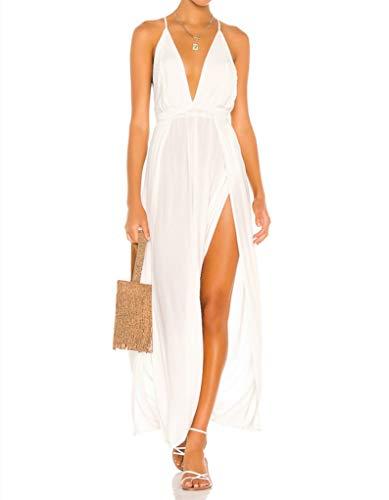 CMZ2005 Women Spaghetti Straps Deep V Neck Maxi Dress Sexy Backless High Slit Party Dress 72013 (Lvory White, x_s)
