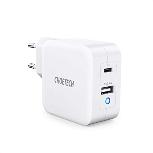 CHOETECH Cargador USB C[GaN Tech], PD 65W Cargador de Pared USB C+USB A para MacBook Pro/Air, MacBook, iPad Pro, Dell XPS,iPhone 11 Pro/XR/X, Samsung Galaxy, Huawei, iPad,Google Pixel, Nintendo Switch