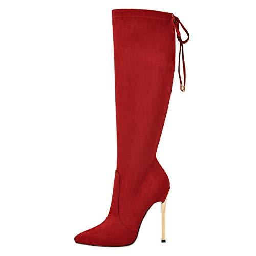 MissHeel Damen Stilettos Slouch Boots Shin Length Boots Suede Rot EU 43