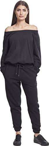 Urban Classics Damen Jumpsuit Ladies Cold Shoulder Terry, Schwarz (Black 00007) - 6