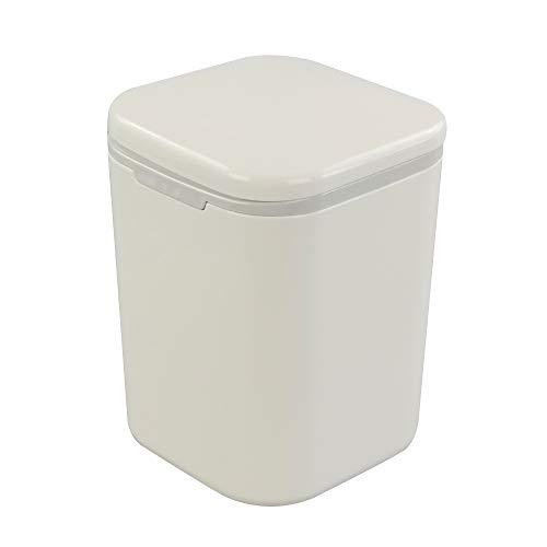 Gitany Mini-Abfalleimer mit Deckel, Druckknopf, weiß, 1.8 L Mini Papierkorb, Abfalleimer Klein