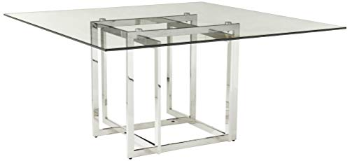 Creative Images International Neo Collection Square Glass Top Dining Table with Stainless Steel Base, Clear