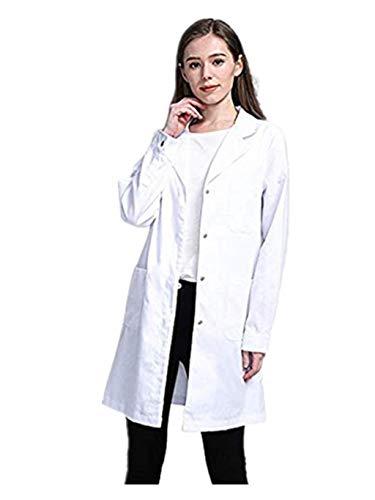 SUMTTER Laborkittel für Damen & Herren, Kittel Medizin weiß, Unisex Berufsmantel mit Druckknöpfen (Weiß1, L)