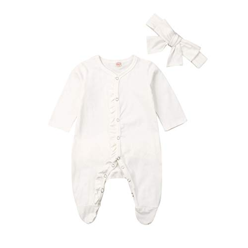 Newborn Baby Girl Footed Pajamas Ruffle Footie Sleeper Romper Jumpsuit Neutral Fall Winter Outfit Clothes (White Footies,0-3 Months)
