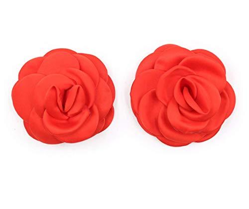 Pasties Breast Nipple Cover Stickers Flores Almohadilla para el Pecho para Mujeres - Rojo
