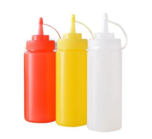 Lot de 3 bouteilles d'assaisonnement de sauce à presser en plastique pour moutarde, ketchup, huile, crème, miel et vinaigrette