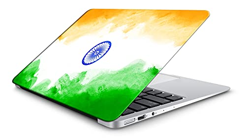 """DwellAmor Indian Flag Design Vinyl Laptop Skin/Sticker/Cover/Decal for All 14 Inches Laptop Models Laminated HD Quality Self Adhesive Compatible with 14"""" Laptop,Multicolour [AmorDwell927]"""
