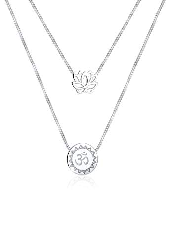 Elli Halskette Damen Lotusblume Om Mantra Symbol Layer-Look in 925 Sterling Silber
