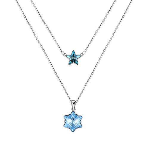 Hellery Sterling Silber Crystal Layer Halsketten Choker Anhänger Sterne Schneeflockenkette