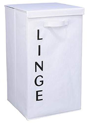 PEGANE Panier à Linge Coloris Blanc - Hauteur 65 x Profondeur 30 x Largeur 39 cm