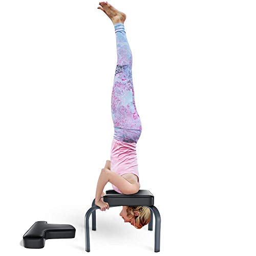 Yoleo Yoga Headstand Bench-Double Protective Yoga Inversion Chair-Steel Frame Yoga Stool-Ideal for Workout, Fitness and Gym -Stress Relieve and Body Building- Black