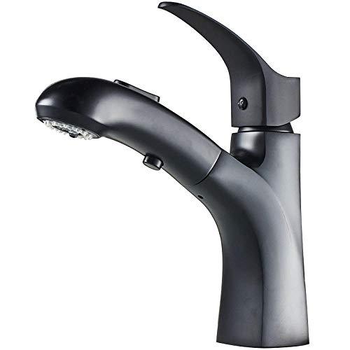 QIMEIM Lavabo mezclador grifo del fregadero del baño mezclador lavado grifo negro pull tipo caliente y frío tire negro baño grifo mezclador baño grifos
